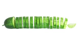 Fresh cucumber slice with clipping path isolate on white backgro. Und Stock Images
