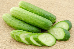 Fresh cucumber and slice cucumber. Royalty Free Stock Photos