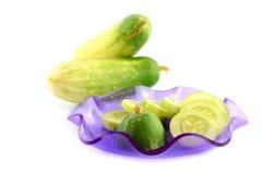 Fresh cucumber slice. Isolated on white Stock Images