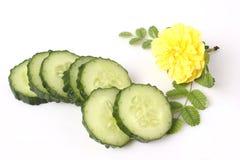 Fresh cucumber slice. Isolated on white background Royalty Free Stock Photo
