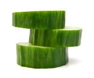 Fresh cucumber slice. Isolated on white background Royalty Free Stock Photography