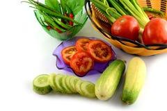 Fresh cucumber slice. On white background Stock Images