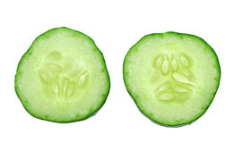 Fresh cucumber slice on white background Stock Photos