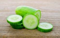 Fresh cucumber slice on wood. Health Royalty Free Stock Photography