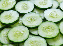 Fresh cucumber slices background. Close up of fresh cucumber slices background Royalty Free Stock Photos