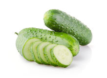 Fresh Cucumber and Slices isolated on white Stock Images