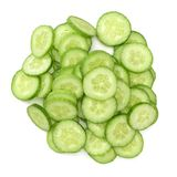 Fresh cucumber slices. On  white background Royalty Free Stock Image