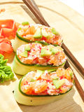 Fresh cucumber sushi with  salmon and avakado Stock Photography