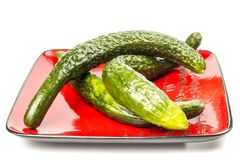 Fresh cucumber. Three long cucumber arranged on a plate red with hieroglyphs on a white background Stock Photos
