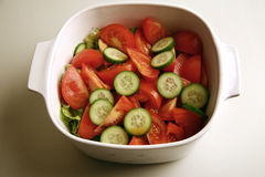 Fresh cucumber and tomato salad Stock Photography