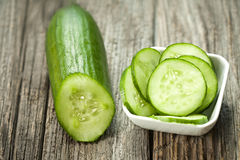 Fresh cucumber on the wooden table Stock Photography