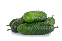 Fresh cucumbers. Fresh green cucumbers isolated on white background Royalty Free Stock Images