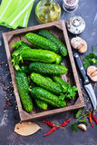 Fresh cucumbers. In box and on a table Stock Images