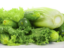 Fresh cucumbers with celery and lettuce Royalty Free Stock Image