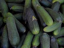 Fresh cucumbers collected on the farm. Close-up Stock Photo