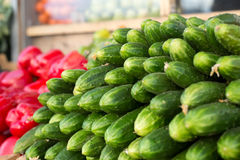 Fresh cucumbers. On the counter Royalty Free Stock Images