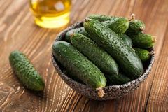 Fresh cucumbers, green vegetables Royalty Free Stock Images