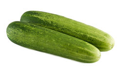 Fresh cucumbers isolated on white. Stock Photos