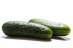 Fresh cucumbers isolated on white Royalty Free Stock Images