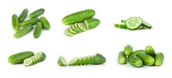 Fresh cucumbers isolated on white Stock Images
