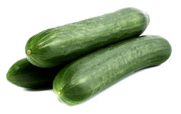 Fresh cucumbers isolated on white. Tasty, natural Royalty Free Stock Image