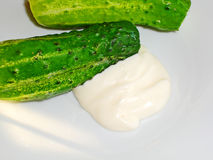 Fresh cucumbers with mayonnaise Royalty Free Stock Photography
