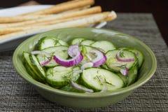 Fresh cucumbers salad detail Stock Photo