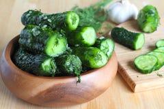 Fresh cucumbers with salt, garlic Royalty Free Stock Image