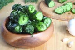 Fresh cucumbers with salt, garlic Royalty Free Stock Photography