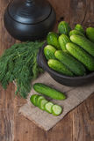 Fresh cucumbers  and slices Royalty Free Stock Photos
