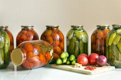 fresh, cucumbers, tomatoes, onion, garlic, red, pepper, table, i Royalty Free Stock Image