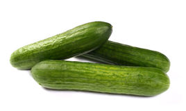 Fresh cucumbers on white Royalty Free Stock Photo