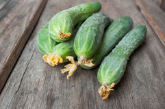 Fresh cucumbers on wooden table Stock Photos