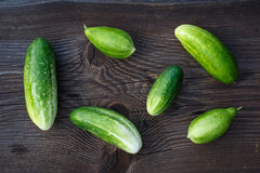 Fresh cucumbers on the wooden table. Stock Photography