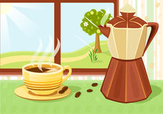 Fresh cup of coffee at breakfast Stock Images