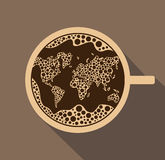 Fresh cup of coffee with foam in the shape of a world map in vec Stock Photography
