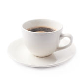 Fresh cup of coffee on a plate, isolated Royalty Free Stock Photography