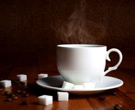 Fresh cup of hot coffee with sugar Royalty Free Stock Photos