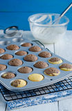 Fresh cupcakes in baking pan Royalty Free Stock Photo