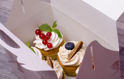 Fresh cupcakes in a box. Set of different delicious cupcakes in a paper box Royalty Free Stock Photo