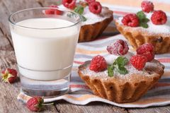 Fresh cupcakes with raspberries closeup and milk horizontal. Fresh cupcakes with raspberries closeup and milk in a glass on a wooden table horizontal Stock Photography