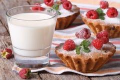Fresh cupcakes with raspberries closeup and milk horizontal Stock Photography