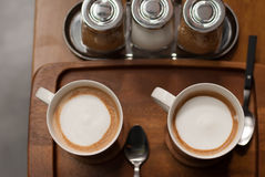 Fresh cups of coffee Royalty Free Stock Photography