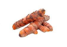 Fresh curcuma root with slices on white background Royalty Free Stock Photo