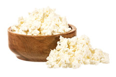 Fresh curd cheese in the bowl stock photo