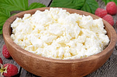Fresh curd cheese in wooden bowl Stock Images