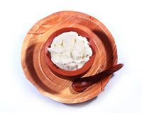 Fresh curd on clay pot with palm tree leaf plate. Fresh curd on traditional south indian clay pot with palm tree leaf plate -studio still Stock Photo