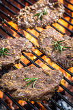 Fresh cured steak on the grill with fire Stock Images