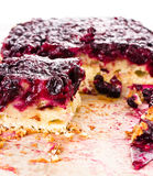 Fresh currant blueberry Pie with Oatmeal Crust on paper Stock Photo