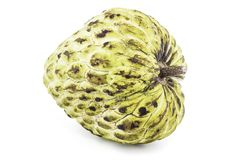 Fresh Custard Apple or Ripe Sugar Apple Fruit  Annona, sweetsop Isolated on white background on with clipping path / well-branch Stock Photography
